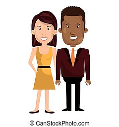 couple business person character vector illustration design