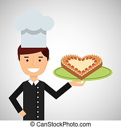 cartoon chef dessert cake ht vector illustration eps 10