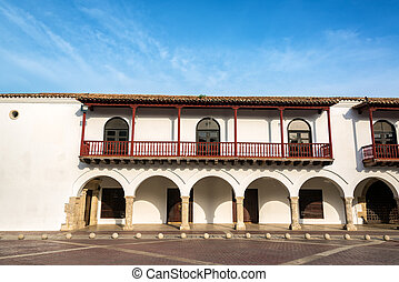 Colonial Architecture in Cartagena - White colonial...