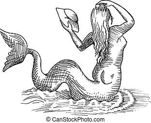 mermaid or siren - Hand-drawn sketch of mermaid or siren...