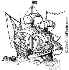 sailing ship with boat - Hand-drawn sketch of sailing ship...