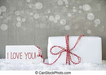 Gift, Cement Background With Bokeh, Text I Love You