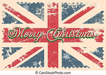 Merry Christmas lettering on a grunge board. Vector...