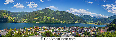 Beautiful alpine mountain landscape with famous village Zell...