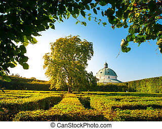 Flower Garden maze with baroque rotunda in Kromeriz -...