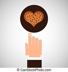 hand with cookie ht chips chocolate vector illustration eps...