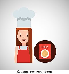 cooker girl cookie mix vector illustration eps 10