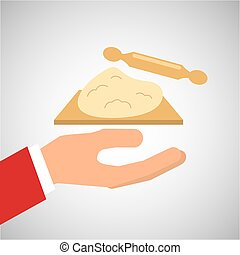 bakery cooking hand dough rolling pin
