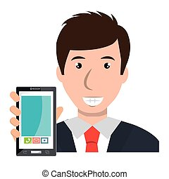 business person with smartphone vector illustration design