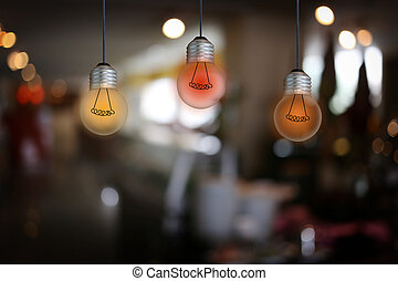 Vintage bulb lamps in a restaurant. - Vintage bulb lamps in...