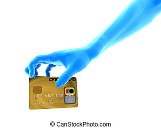 grabbing creditcard - 3d rendered illustration of a hand on...