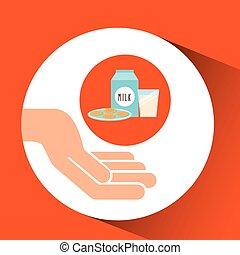 hands food preparing milk and cookie