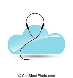 cloud music concept earphones