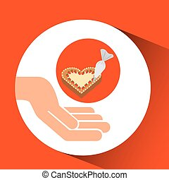 hands food preparing cake ht decor vector illustration eps...