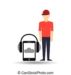 guy red cap smartphone headphones music online vector...