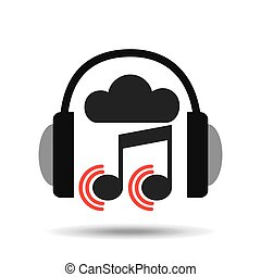 music online cloud headphone note sound vector illustration...