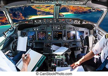 Na Pali Coast cockpit - Airplane cockpit flying on Na Pali...