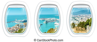 Window on port of Malaga - Three plane windows on port of...