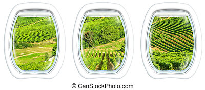 Cape Town on window - Three plane windows on grapevine of...