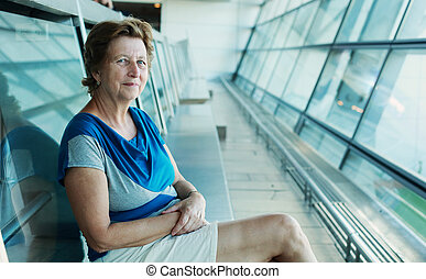 Outdoor portrait of 70 years old woman - 60s 70s adults...
