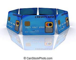 credit cards - 3d rendered illustration of some blue credit...