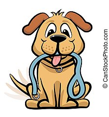 Dog waiting to walk clipart