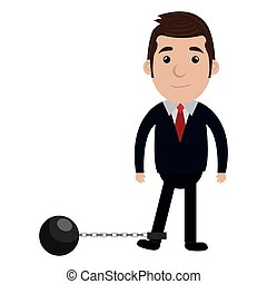 businessman character with slave fetter icon - businessman...