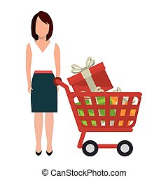 woman character with cart shopping