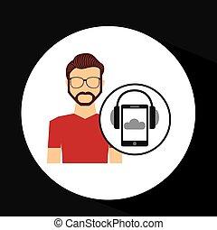 barbudo,  smartphone, auriculares, Música, en línea, tipo