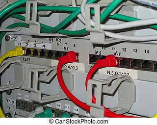 Network cabling - The cabling on a network rack