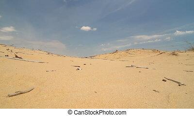 A man walks through the desert
