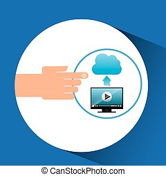hand gadget player upload cloud video vector illustration...