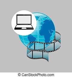 laptop media player globe film