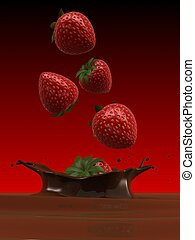 strawberries - 3d rendered illustration of strawberries...