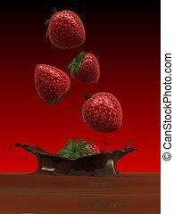 strawberries - 3d rendered illustration of strawberries...