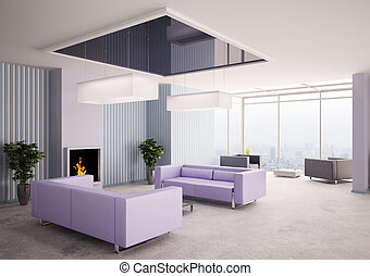 Living room with fireplace 3d