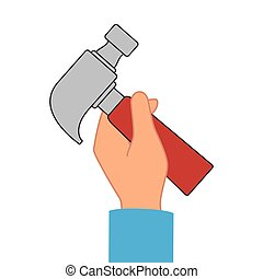 hand human with hammer icon vector illustration design