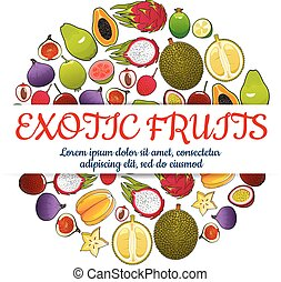 Exotic fresh fruits vector poster - Exotic fruits poster of...