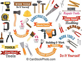 Work tools icons. Repair, construction signs set