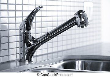 Kitchen faucet - Stainless steel kitchen faucet and sink...