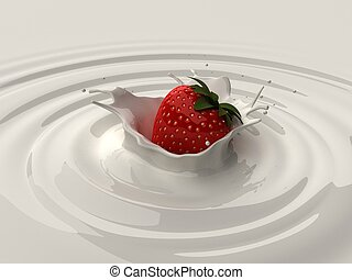 strawberry splash - 3d rendered illustration of a strawberry...