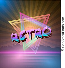 Retro Music Abstract Poster Cover 1980s Style Background....