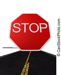 stop sign - 3d rendered illusration of a red stop sign on a...
