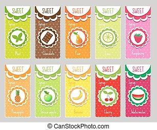 Set fruit labels, emblem. Template   for your design. Vector illustration