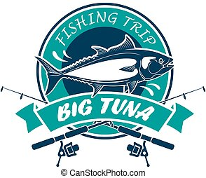 Fishing trip sport club round vector sign