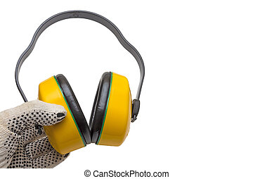 Protective ear muffs isolated on a white background