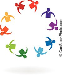 Couples teamwork people logo