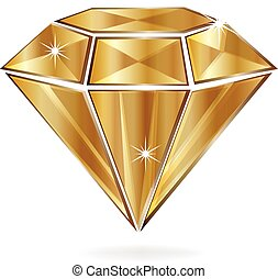 Gold diamond - gold bright diamond shine reflections logo...
