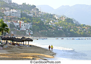 Puerto Vallarta beach, Mexico - Morning beach and ocean in...