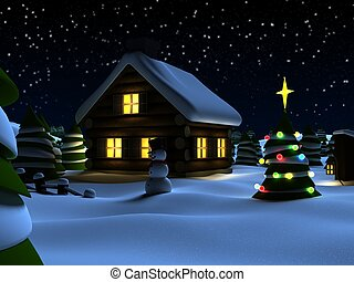 christmas scene - 3d rendered illustration of a house and a...